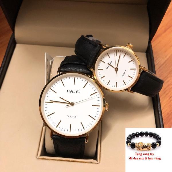 Nơi bán Cặp Đồng hồ nam nữ Halei dây da mặt tròn thời thượng TẶNG 1 vòng tỳ hưu phong thủy may mắn