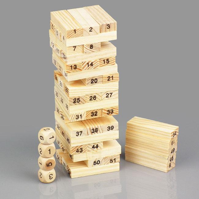 Bộ đồ chơi rút gỗ 54 thanh kèm 4 con súc sắc cho bé