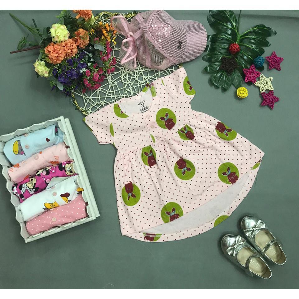 Váy bé gái cotton đuôi tôm hồng 8-26kg