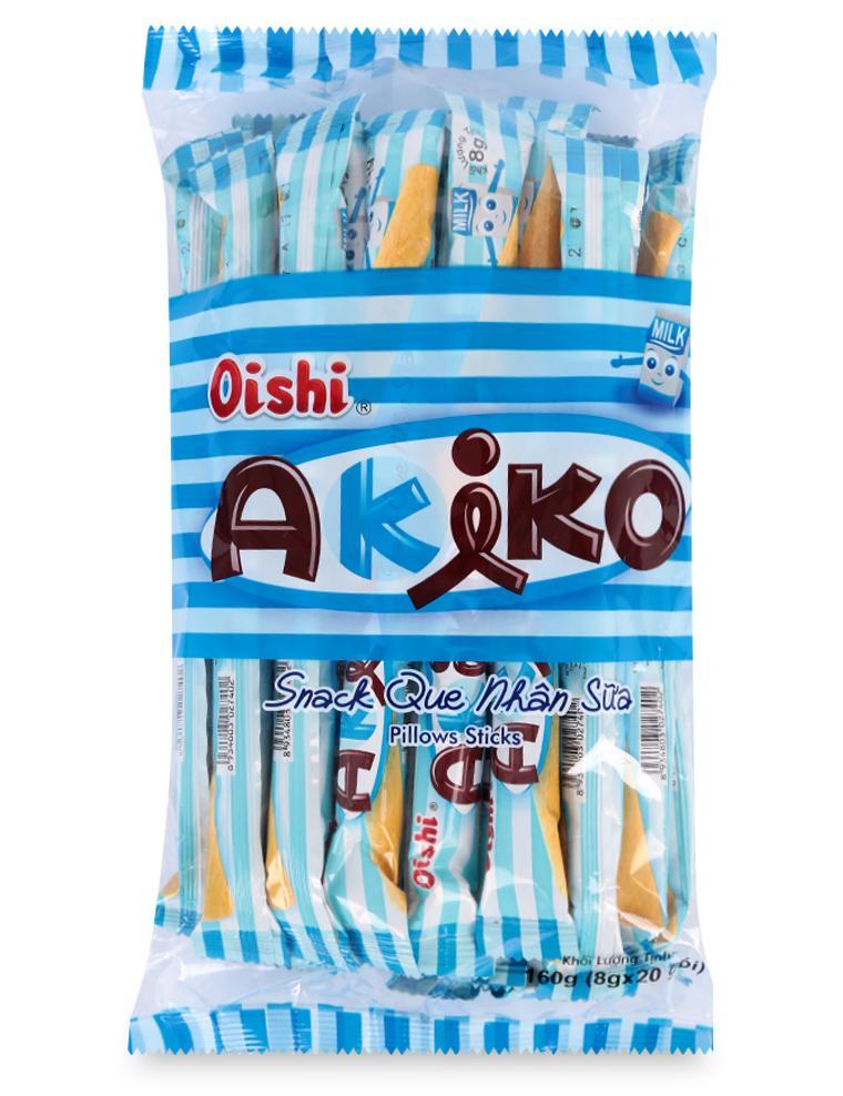 Bánh Snack Que Nhân Sữa Akiko Oishi Gói 160G