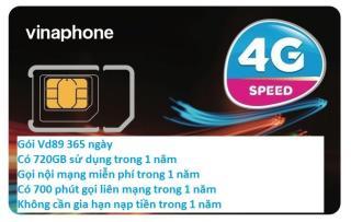 Sim 4G Vinaphone VD89 D60G-12T (miễn phí 62GB tháng +43000 phút) x 12 tháng .Trọn gói 12 tháng không cần nạp tiền 2