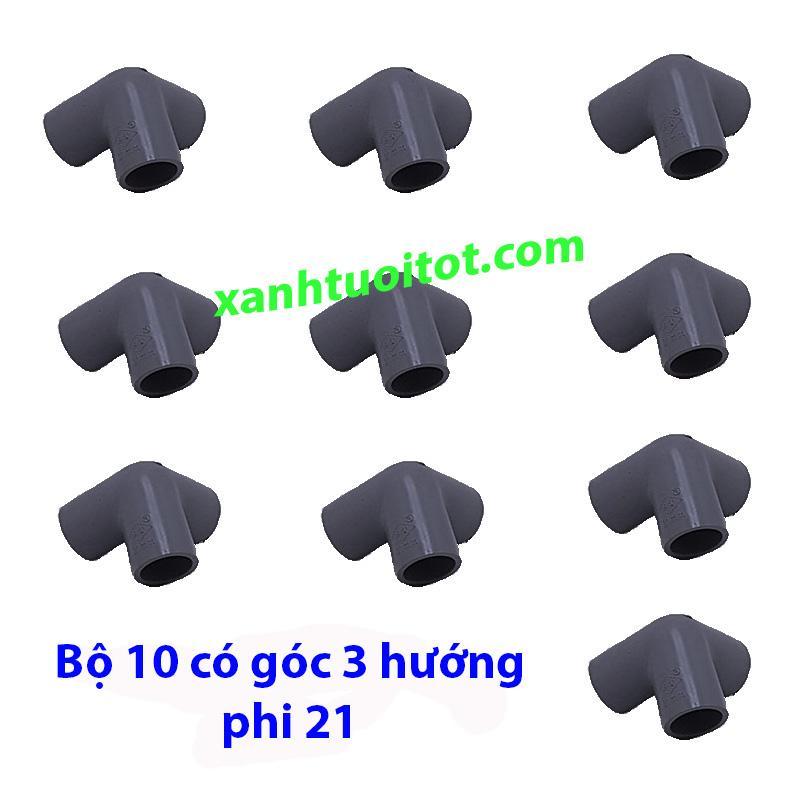 Co góc 3 hướng phi 21 nhựa PVC màu xám
