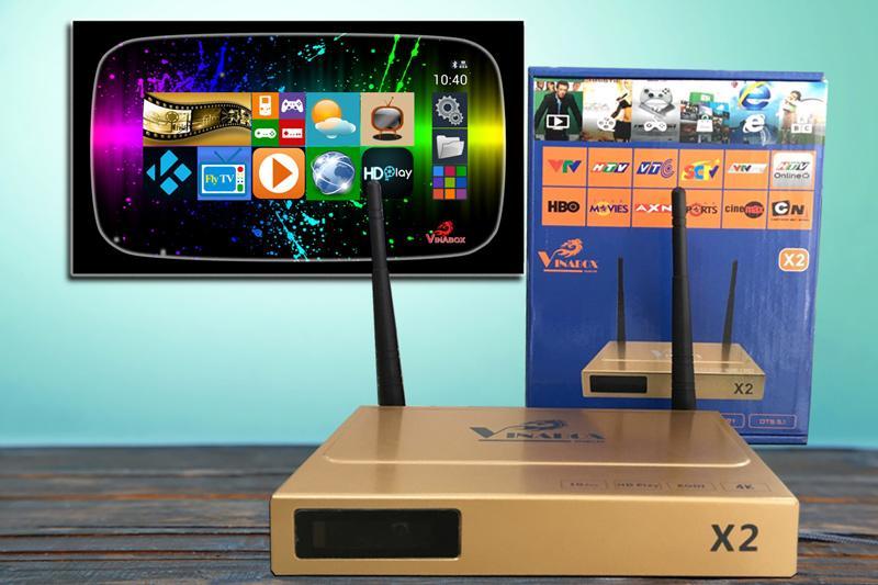 Hop box tivi, Android Tv box Vinabox X2 Ram 1G Rom 8G biến TV thường thành smart TV   Bảo hành 12 tháng uy tín   MS:014