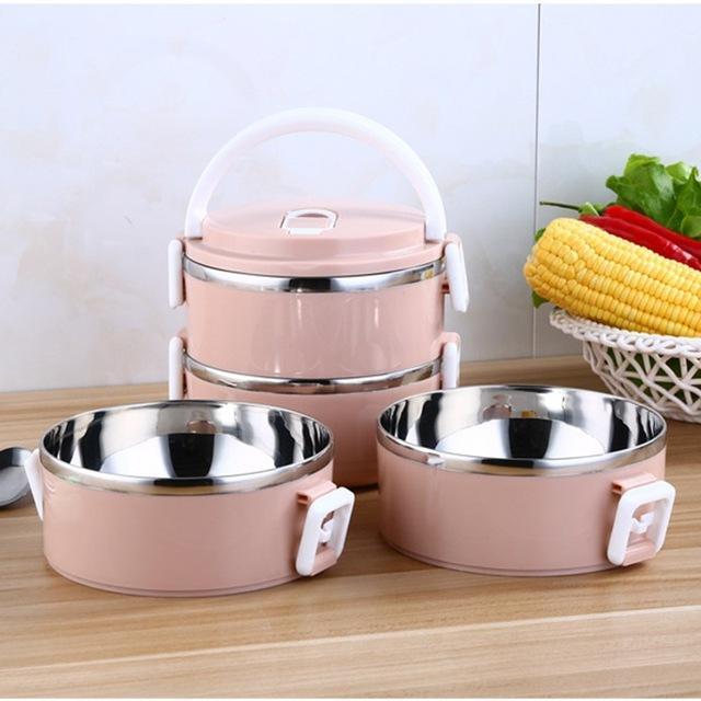 Hộp cơm giữ nhiệt 2-4 ngăn/hộp cơm giữ nhiệt inox giá rẻ (Màu ngẫu nhiên)