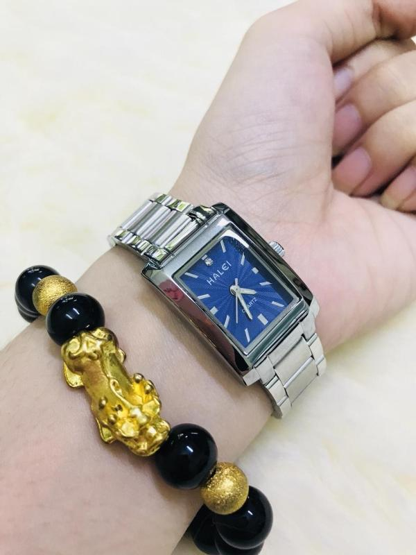 Đồng hồ nữ Halei dây thépTẶNG 1 vòng tỳ hưu phong thủy may mắn đồng hồ dây trắng mặt xanh