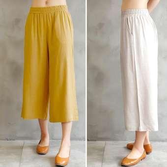 กางเกงผู้หญิง ขา7ส่วน ทรงกระบอกตรง ผ้าลินิน (สีผ้าลินิน) (สีผ้าลินิน)-