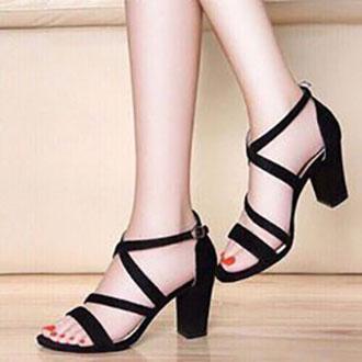 Giày cao gót vuông LT 7 phân hai dây chéo