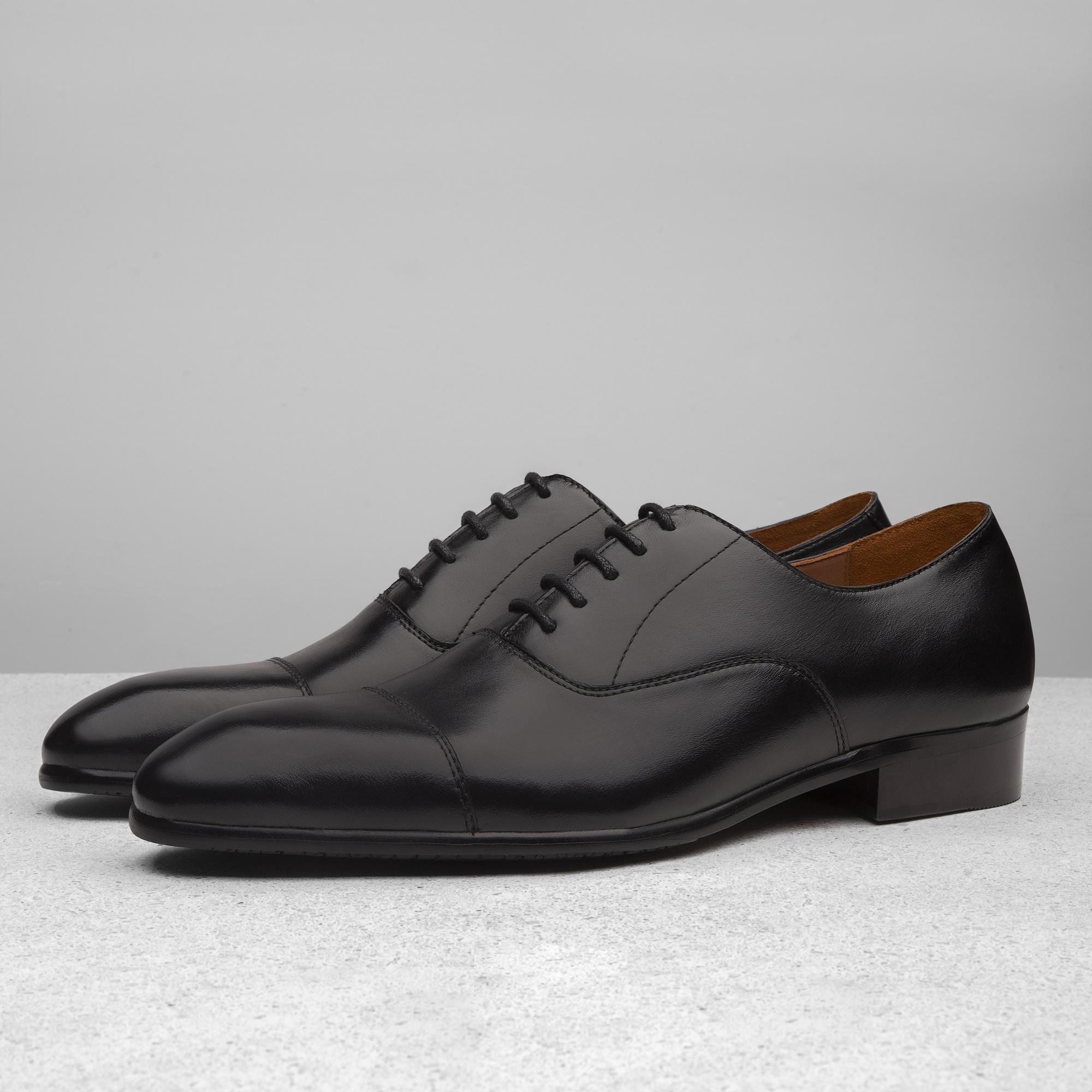Giày Tây Nam Luxury Da Bò Thật ShoeX Sombrero Captoe Oxford - Black