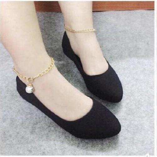 Giày búp bê nhung hạt châu
