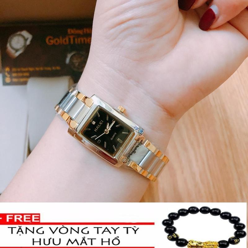 Đồng hồ nữ mặt vuông HALEI dây thép TẶNG 1 vòng tỳ hưu phong thủy may mắn đồng hồ dây demi mặt đen