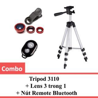 Combo Tripod 3110 + Lens 3 trong 1 + Nút Remote Bluetooth thumbnail