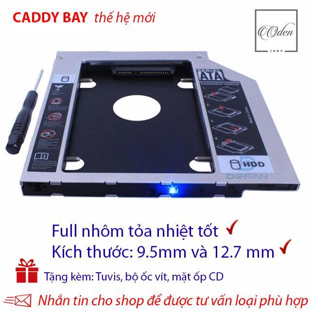 Khay gắn ổ Cứng SSD/HDD thứ 2 cho laptop - Full nhôm - dày 12.7mm và mỏng 9.5 mm,SATA, Tặng tuvit & mặt ốp cd