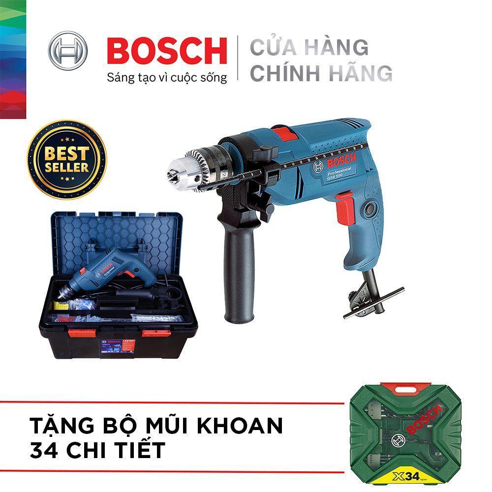 Bộ máy khoan động lực cầm tay Bosch GSB 550 FREEDOM SET 90 chi tiết + Bộ Mũi Khoan 34 Chi Tiết