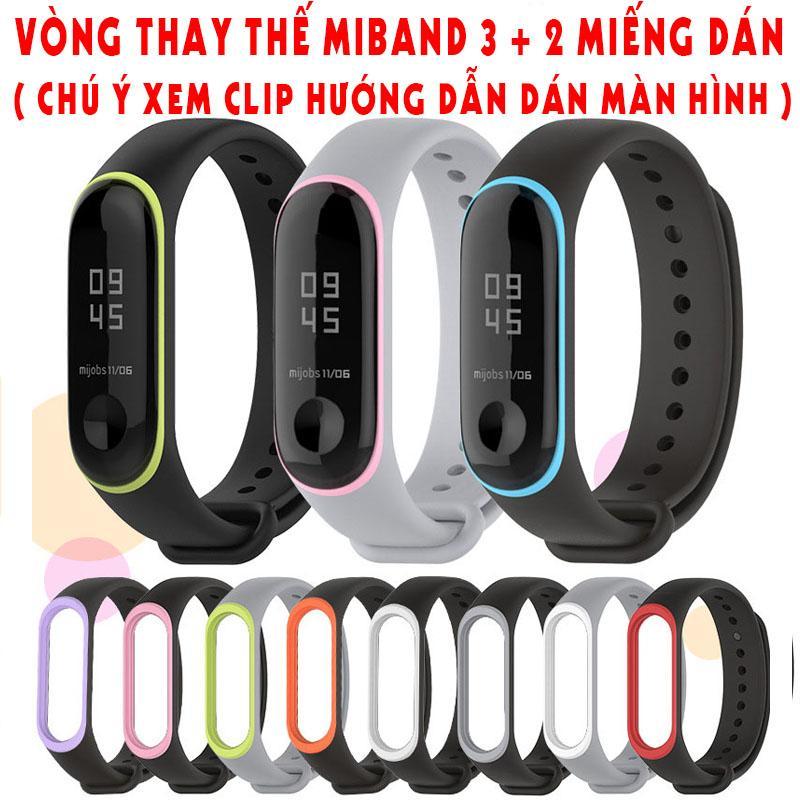 Vòng thay thế xiaomi miband 3 + 2 miếng dán miband 3 ( chú ý xem clip hướng dẫn dán màn hình )