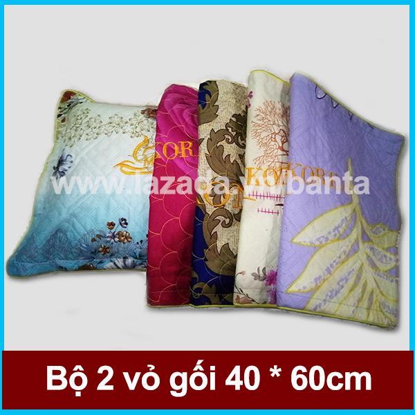 Bộ 2 vỏ gối 40*60 cotton, may lót bông, chống trượt và may viền (giao màu ngẫu nhiên)