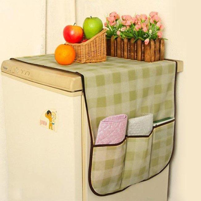 Miếng phủ tủ lạnh ô vuông có túi tiện dụng