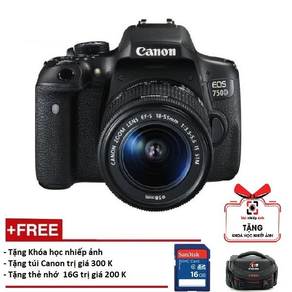 Canon 750D kèm lens 18-55mm is STM (Hàng Canon Lê Bảo Minh)-Tặng khoá học nhiếp ảnh EOS + Thẻ SD 16GB + Túi