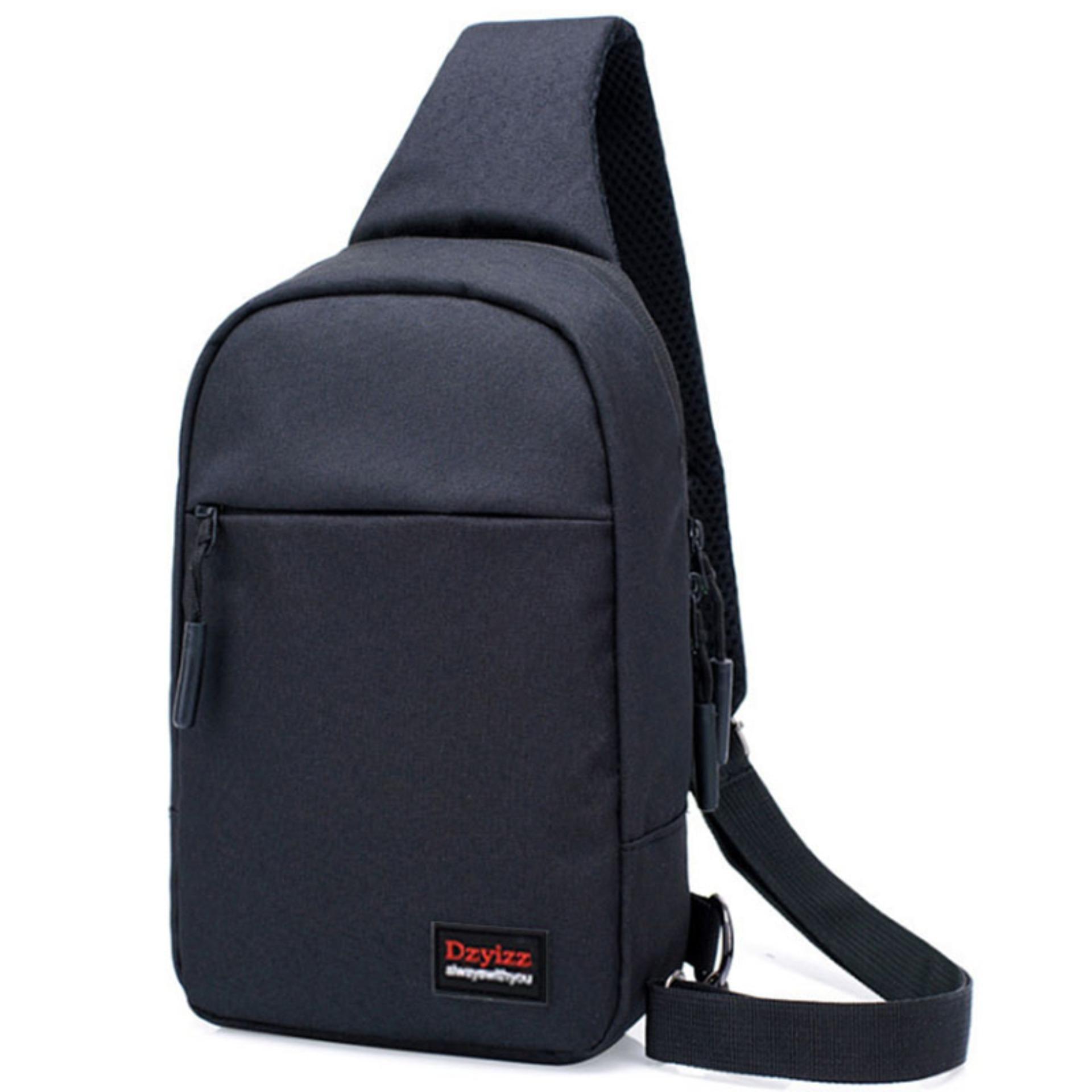 Túi nam đeo chéo 2 ngăn thời trang vải chống rách_(Đen) CR11