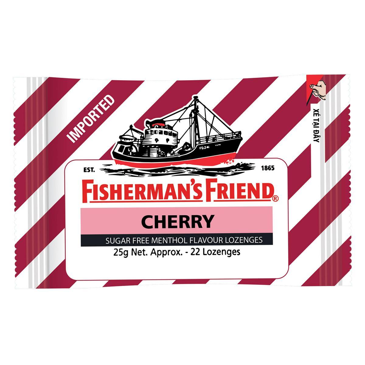 Kẹo Cay Con Tàu Fisherman Friend Vị Cherry Gói 25g x 22 viên