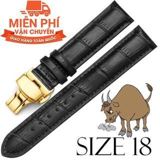 Dây đồng hồ da bò cao cấp SIZE 18mm (đen) kèm khóa bướm thép không gỉ 316L (vàng) thumbnail