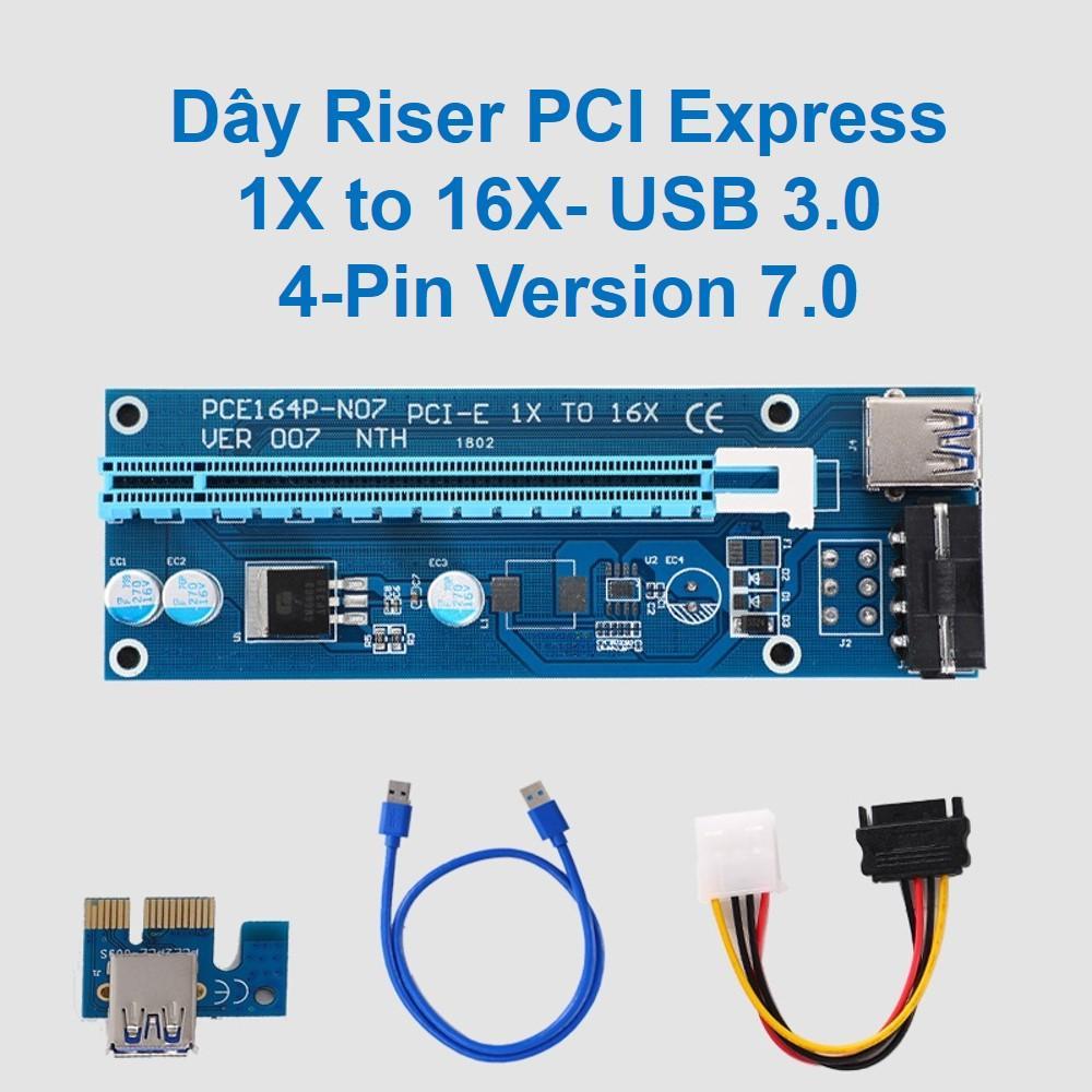 Dây Riser PCI Express 1X to 16X- USB 3.0 6-Pin Version 7.0 D00-233