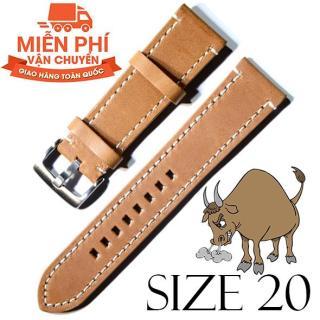 Dây đồng hồ da bò cao cấp SIZE 20mm (nâu), chất liệu da Bò thật 100%, dùng cho dây đeo đồng hồ thumbnail
