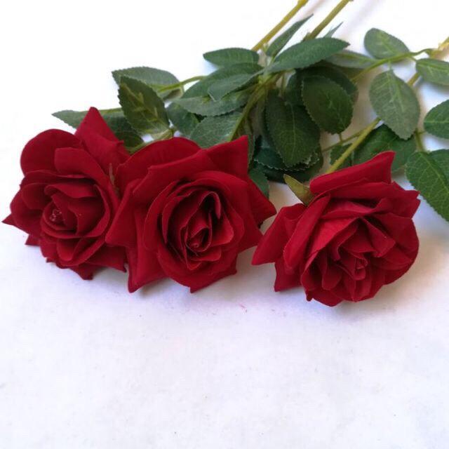 Hoa giả Trang Trí - Hoa Để Bàn - Hoa Hồng Nhung 10cm