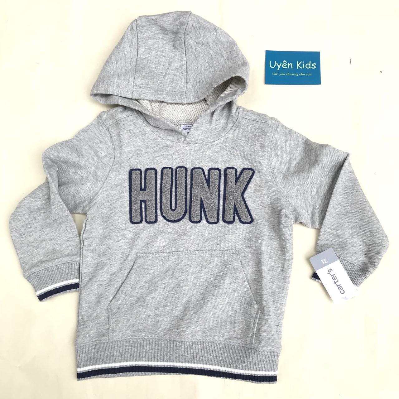 Áo Hoodie xuất khẩu bé trai 1-8T màu xám chữ HUNK