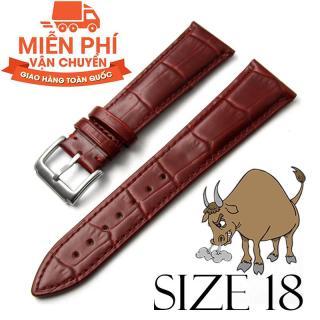 Dây đồng hồ da bò cao cấp BO3 SIZE 18mm (nâu đỏ) thumbnail