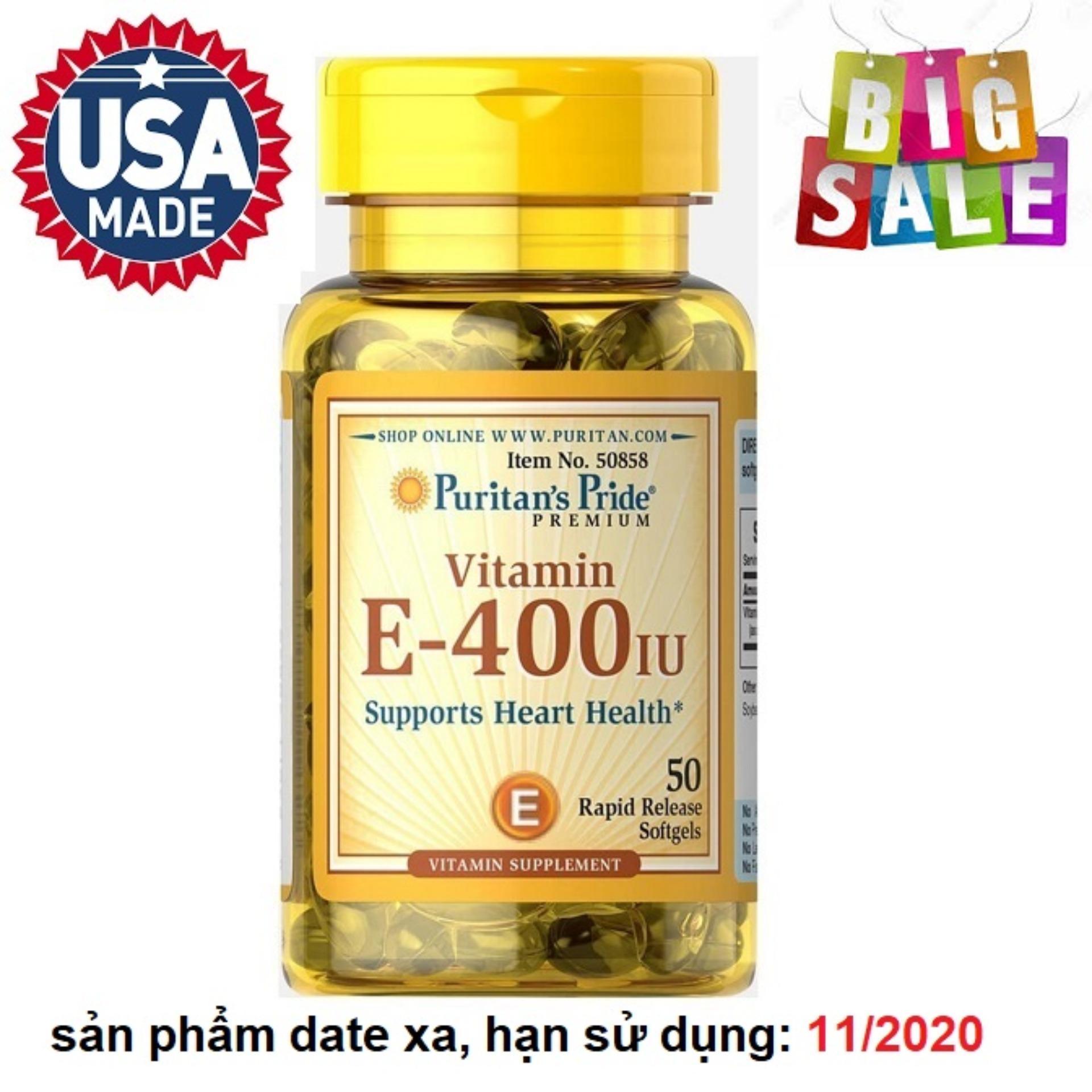 Viên uống bổ sung Vitamin E giúp đẹp da, chống lão hóa, hỗ trợ hệ tim mạch Puritan's Pride Vitamin E-400 IU 50 viên