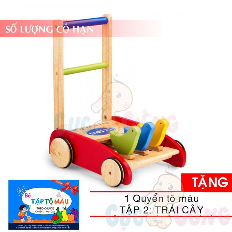 Xe tập đi bằng gỗ 3 con chim Song Son TẶNG 1 quyển tô màu (trái cây) - xe day tap di cho be