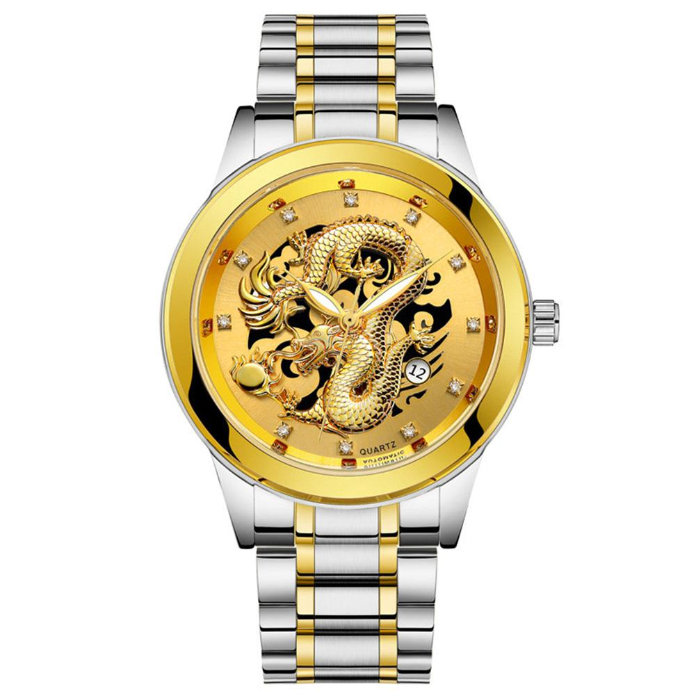 Star Mall Men High-end Retro Quartz Watches Chic Dragon Phoenix Pattern Metal Strap Business Style Luminous Watch