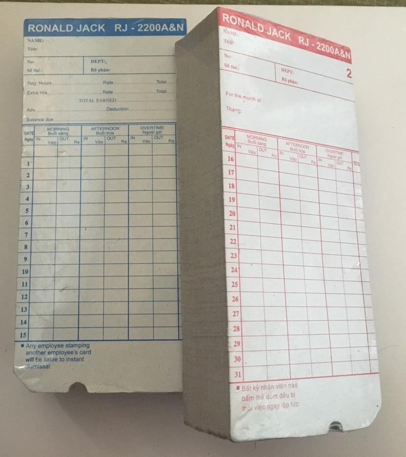 thẻ chấm công bằng giấy 2200