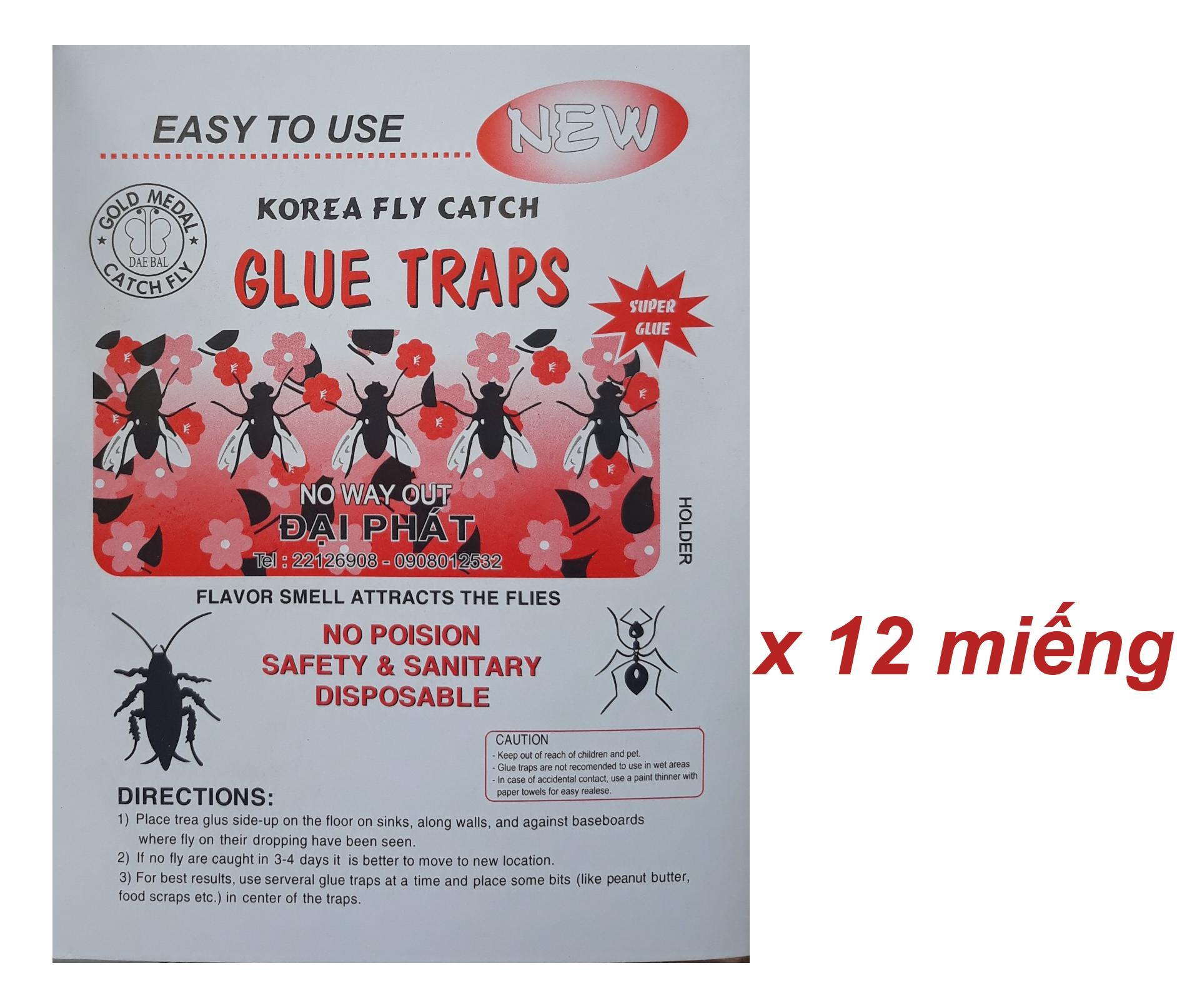 Keo bẫy ruồi hàn quốc KOREA FLY CATCH GLUE TRAPS - 14.5 x 22cm (12 miếng)