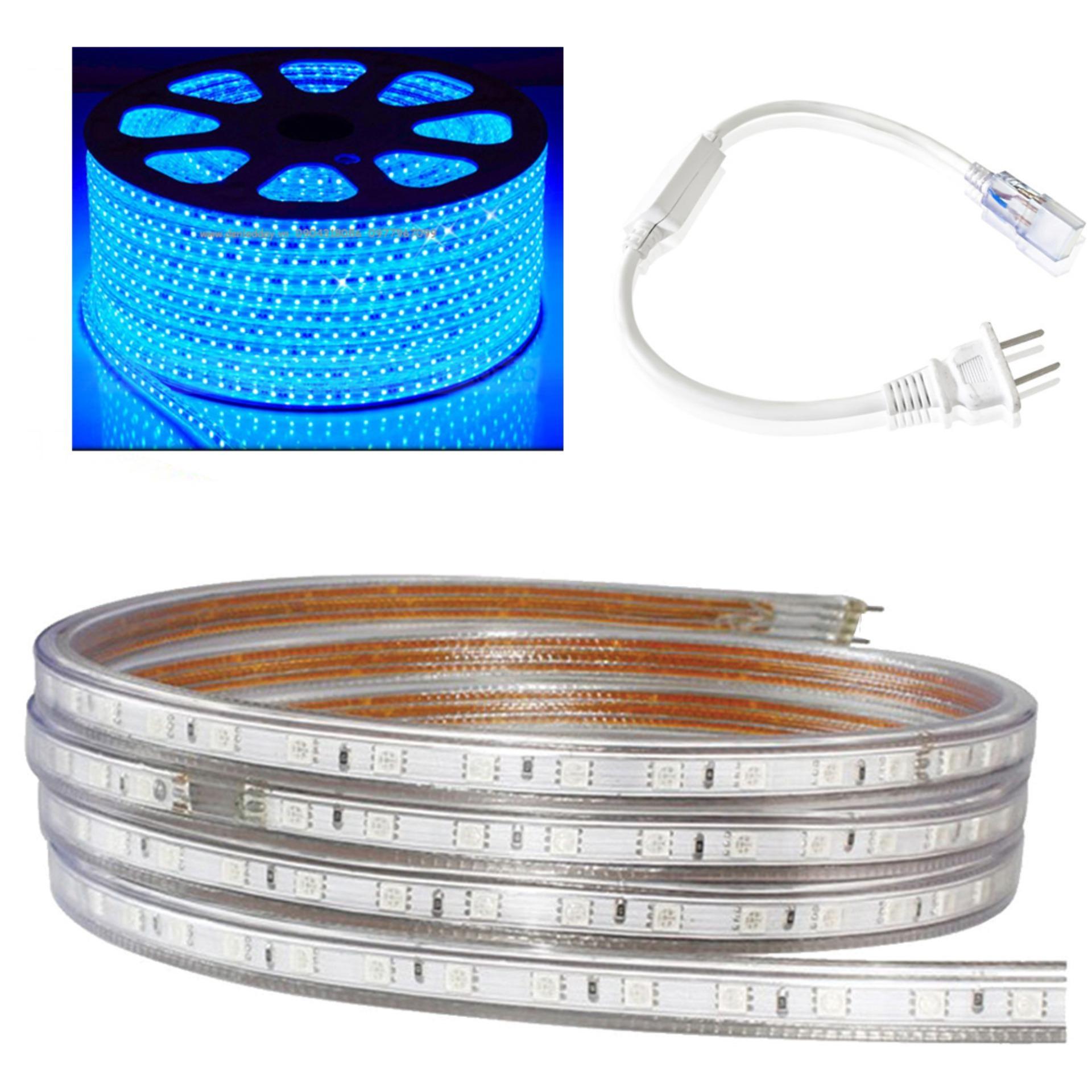 Cuộn led 5050 ánh sáng xanh dương dài 100m tặng  kèm 1 đầu nguồn