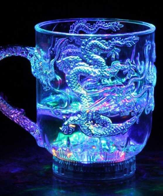 Ly uống nước có đèn led cảm ứng chạm rồng