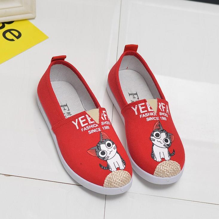 Giày slip on nữ hình mèo cá tính GTTG29  + Tặng thẻ tích điểm shoptienich92