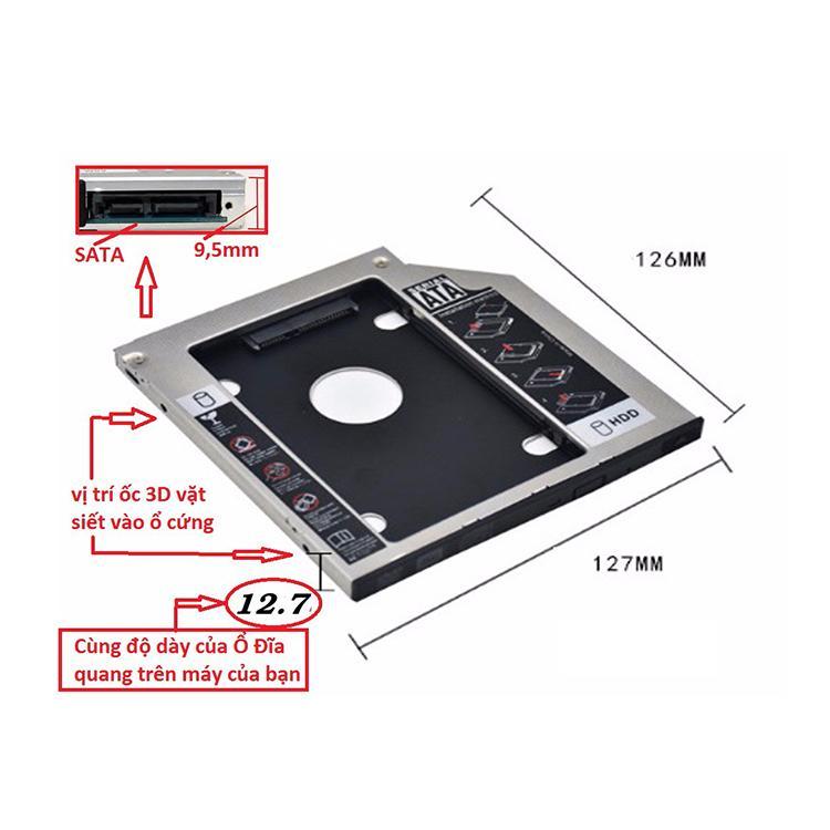 Khay lắp ổ cứng SSD/HDD CADDY BAY dày 12.7mm 2.5Inch