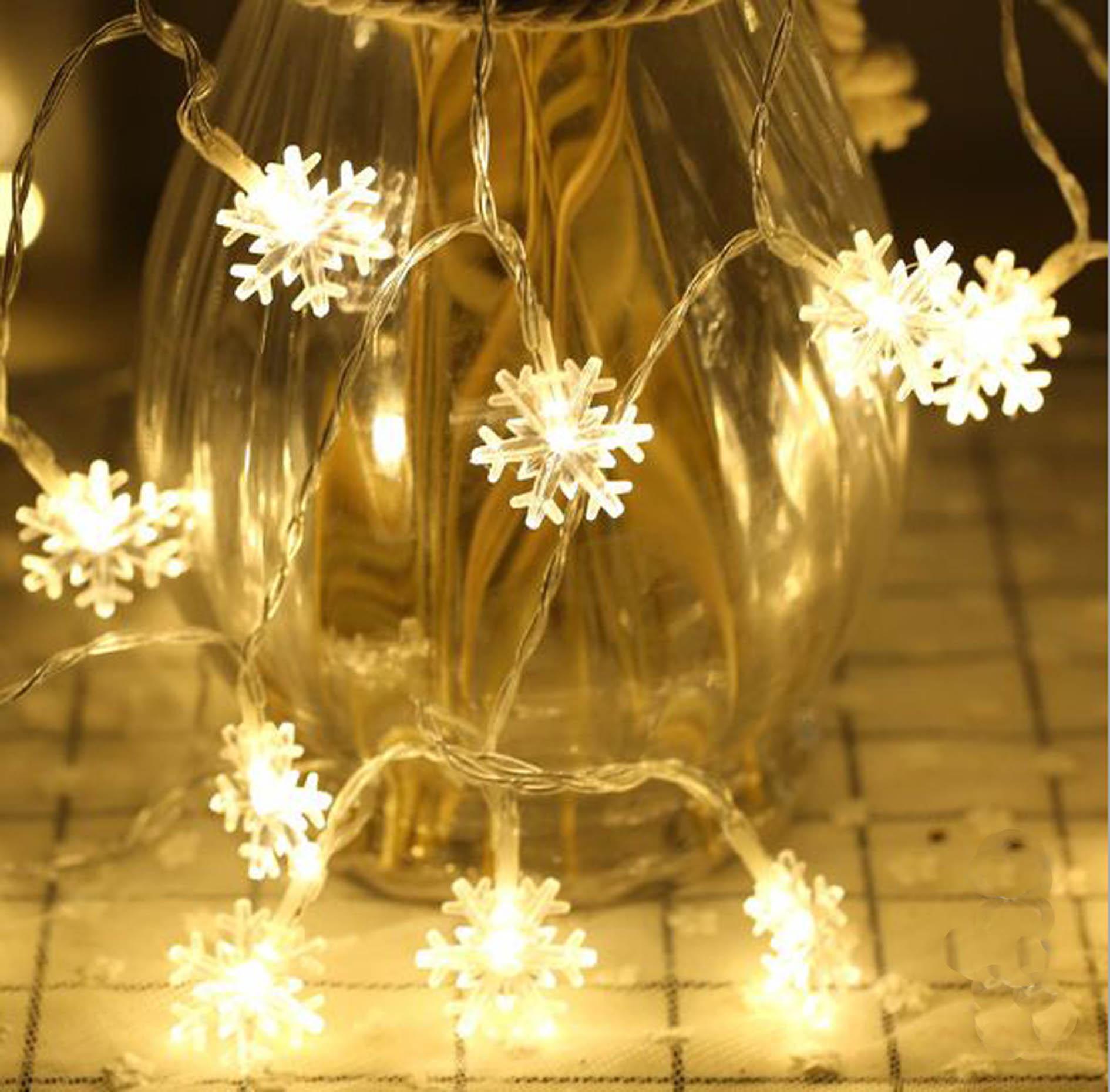 Dây đèn led trang trí hình bông tuyết ( Dài 5m gồm 20 bông )