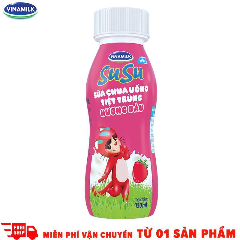 Thùng 24 chai Sữa chua uống SuSu Hương Dâu Vinamilk - Chai 150ml