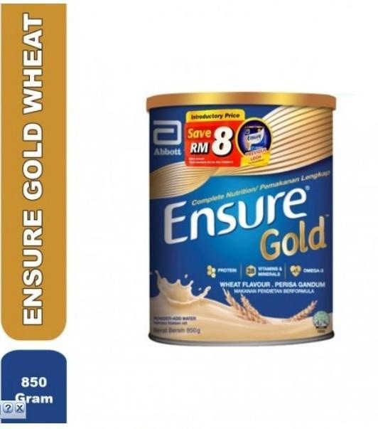 Sữa Ensure GOLD 850g - Hương Lúa Mạch (ít ngọt) - Hàng Malaysia