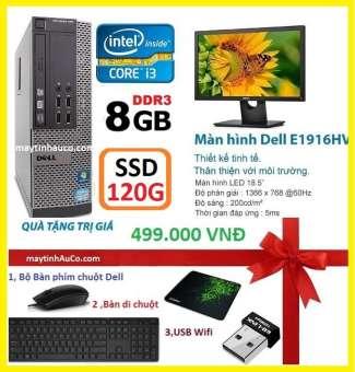 máy tính để bàn đồng bộ dell optiplex 390 ( core i3 / 8g / ssd 120g ),màn hình dell 18.5 inch wide - led , tặng bàn phím chuột dell , usb wifi  bàn di chuột - hàng nhập khẩu