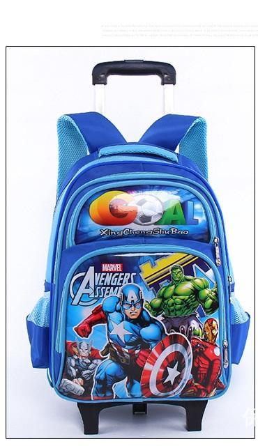 Balo kéo cho học sinh cấp 1 cấp 2 Spider Man siêu nhẹ chống thấm nước(màu xanh)42x33x15cm