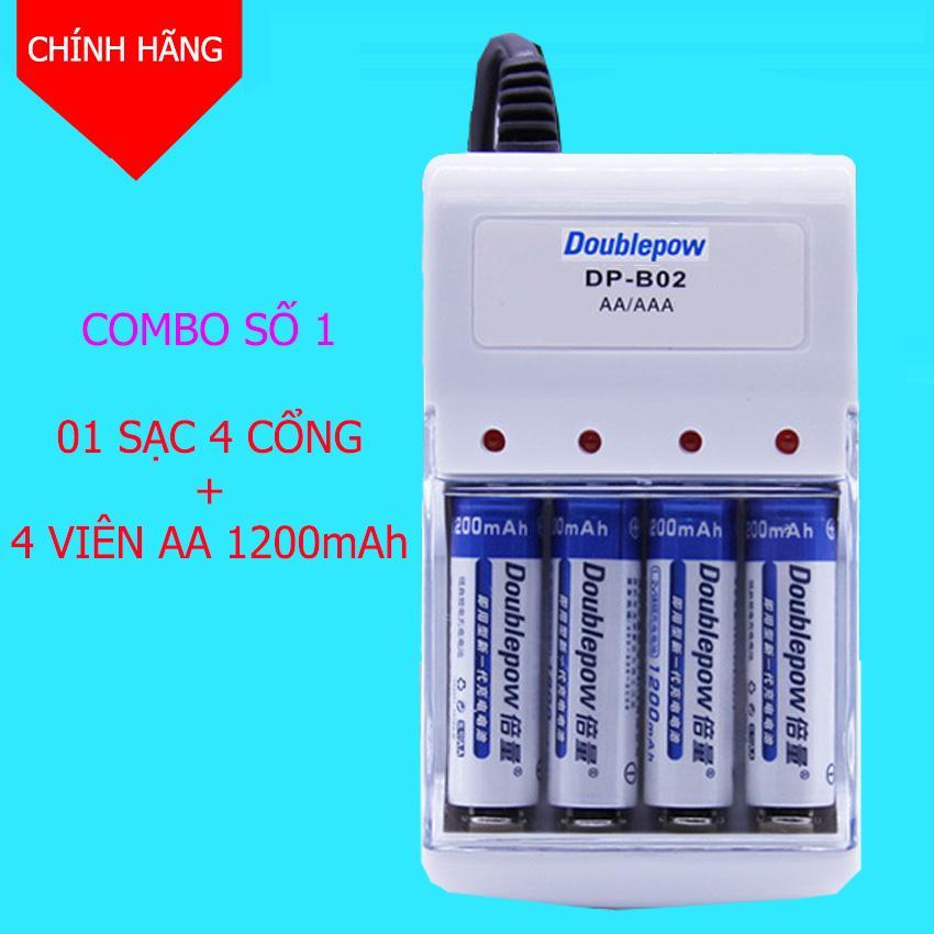 Combo Bộ sạc pin AA, AAA 2 cổng DoublePow DP-B02 + 4 viên pin AA 1200mAh