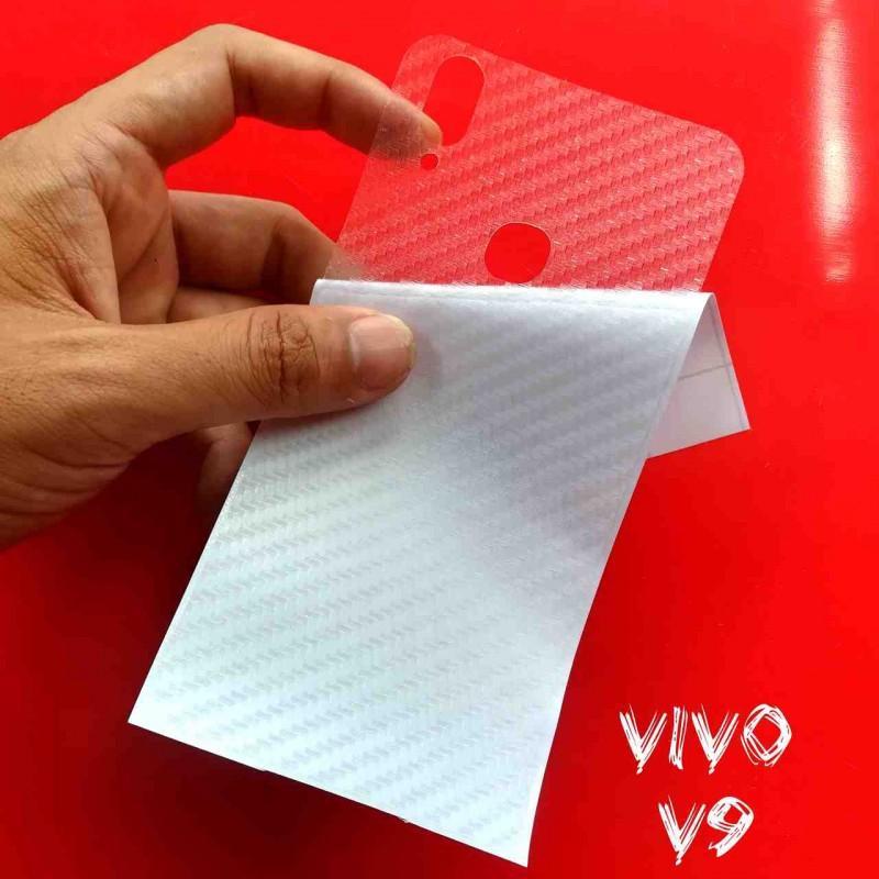 Miếng Decal Dán Lưng Vivo V9 Nhám Trong Carbon