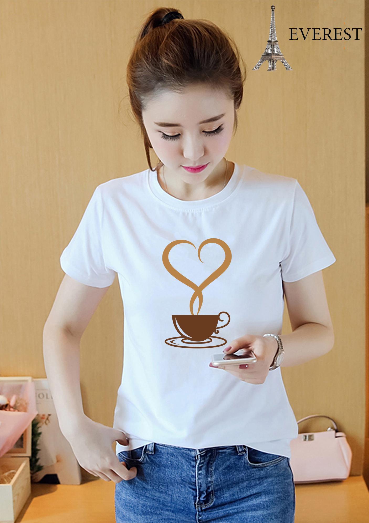 Áo thun nữ in hình cà phê tim form rộng hàn quốc vải dày mịn AoK905 Thời Trang Everest
