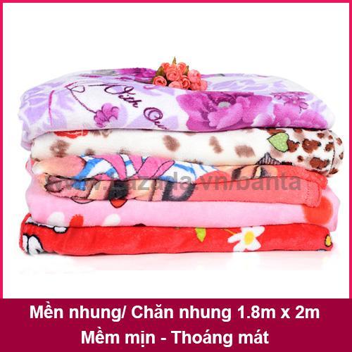 Mền nhung, chăn nhung mềm mịn thoáng mát 1.8m x 2m (giao màu ngẫu nhiên)