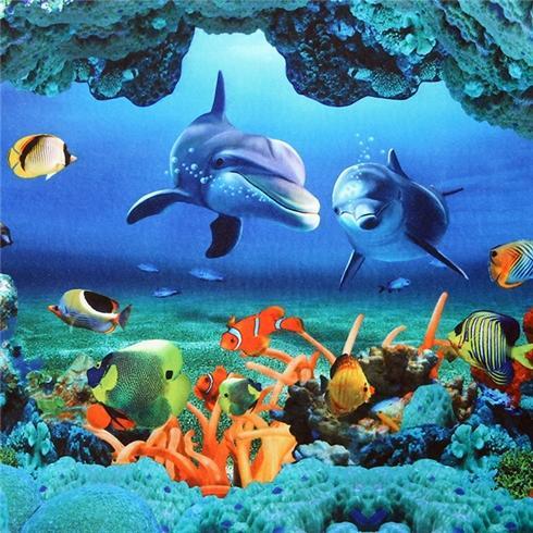 Thảm lau chân siêu thấm chống trượt thiết kế 3D - Đại dương xanh