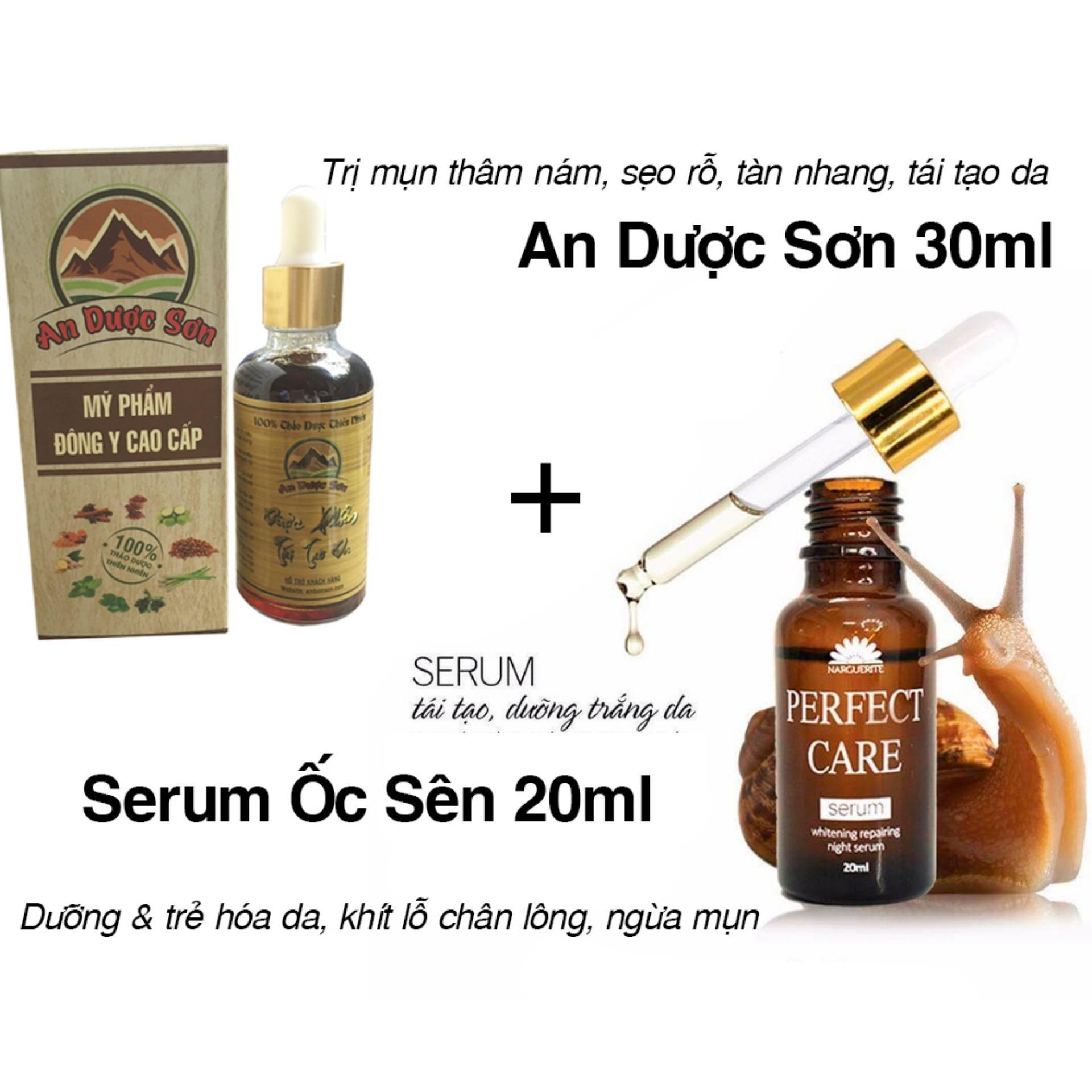Combo 1 Bộ Serum An Dược Sơn trị mụn thâm sẹo rỗ 30ml + 1 Serum dưỡng đẹp mịn da Ốc Sên Perfect Care 20ml