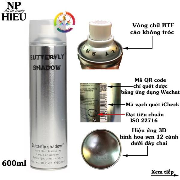 Gôm xịt tóc Butterfly shadow 600ml hàng chuẩn salon giá rẻ